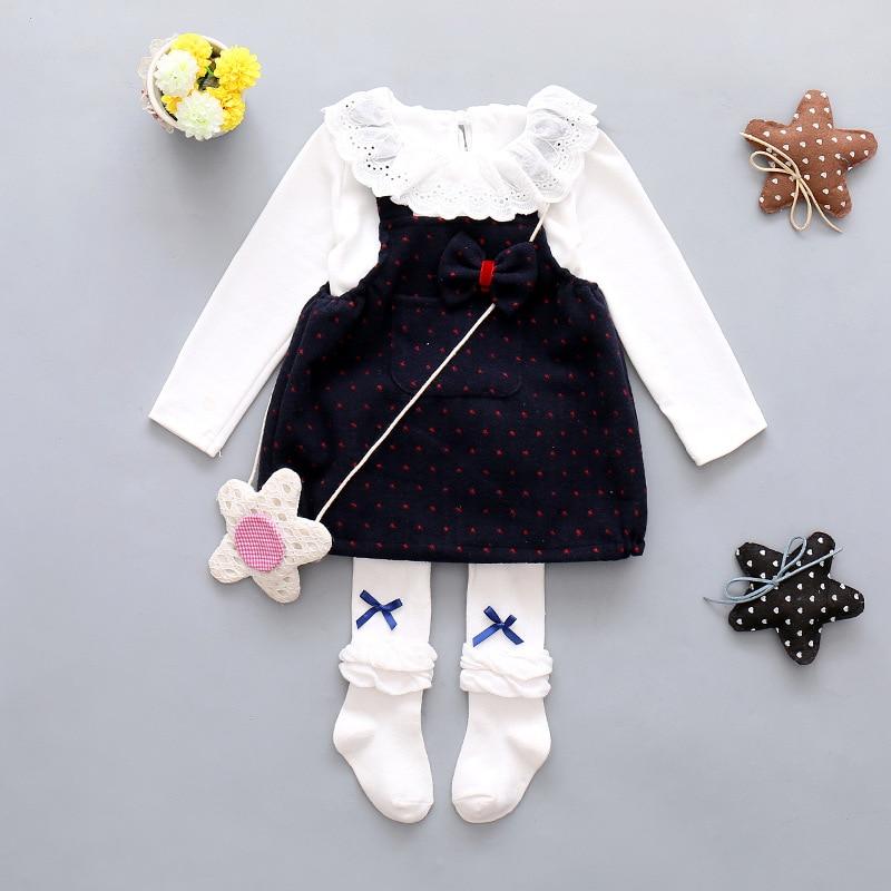 Girls dresses T-shirt+woolen dress 0-3T newborn baby clothes princess dress long sleeve children clothing kids dress for girls<br><br>Aliexpress