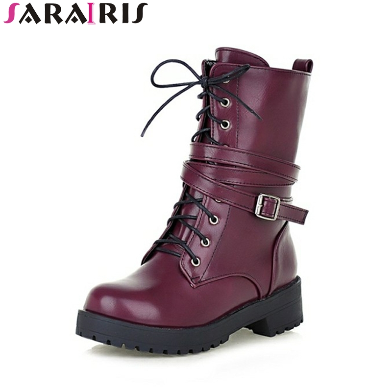 SARAIRIS Spring Autumn Platform Lace Up Mid Calf Motorcycle Boots Round Toe Med Square Heel Women Shoes Size 34-39<br>