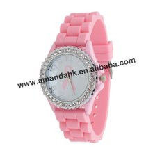 105pcs/lot,silicone pink ribbon lady watch fashion girl crystal watch popular cheap silicone women watch.