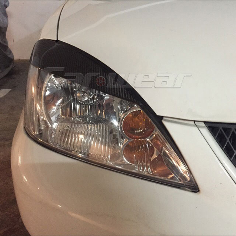 2006-2012 Carbon Fiber Front Headlight Cover Eyelid Eyebrow For Mitsubishi Lancer<br>