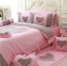 Cotton pink gray cute polka dot flower bedding sets,girl twin full queen king fairyfair bedclothes bedskirt pillow quilt cover(China)