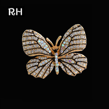 Elegant Crystal Butterfly brooches for women and men broches mujer Natural Rhinestone Butterfly Animal Brooches for wedding gift