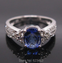 SOLID 14K WHITE GOLD VIOLET BLUE TANZANITE ENGAGEMENT DIAMOND RING