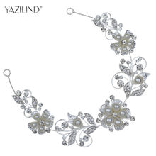 YAZILIND New Silver Plated Big Pearl Flower Crystal Hair Clip Band Jewelry Headband Headpiece for women hair(China)
