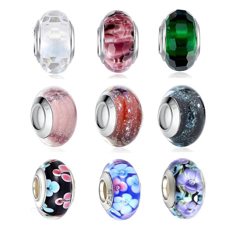 20 Couleur Silver Murano Glass Bead Fit European Charm Bracelet Bijoux Making Perle