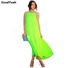 UsualYeah 2017 Summer Women Neon Green Dress Fashion Spaghetti Strap Pleated Maxi Dresses Beach Bohemian Long Dress Fluorescence(China)