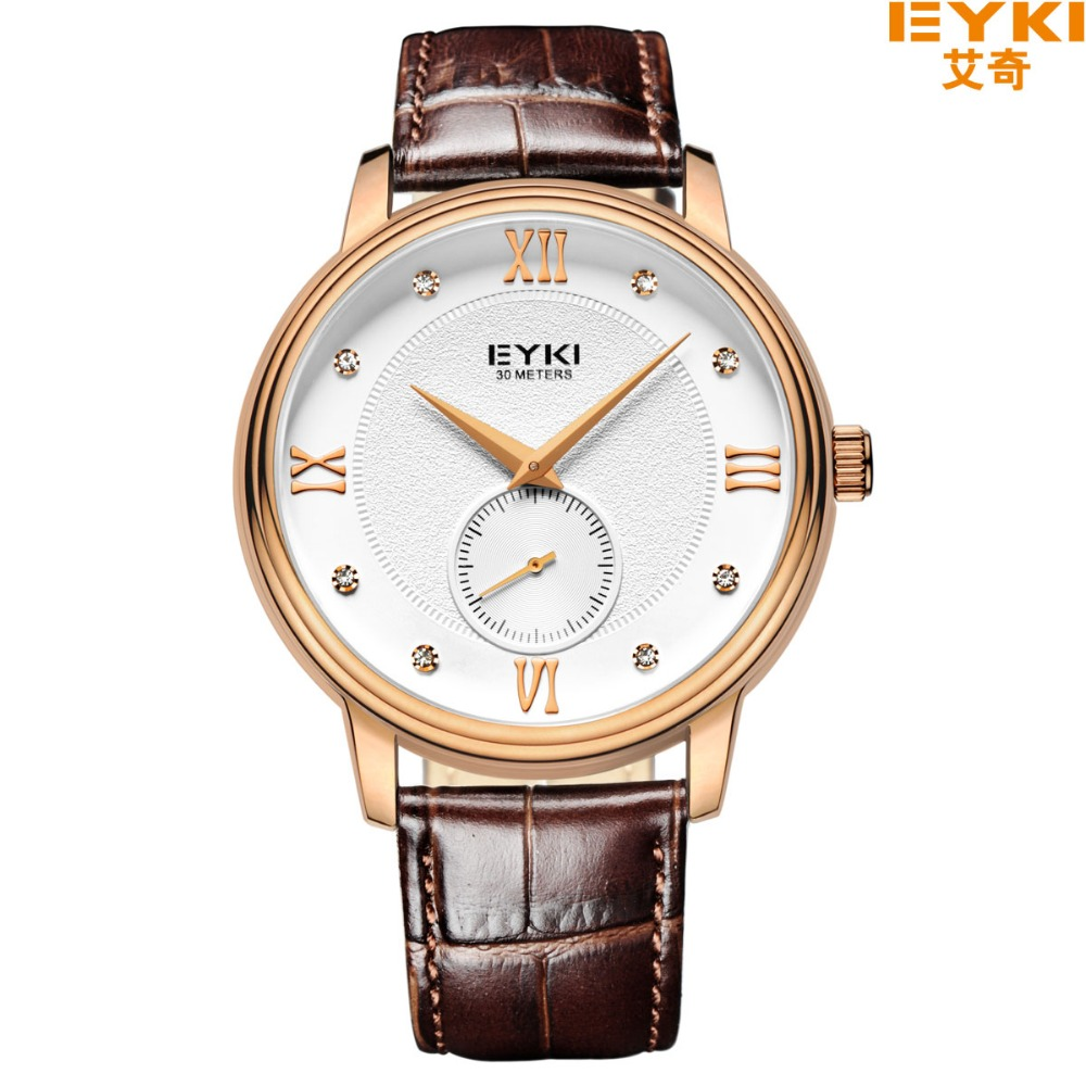 New Eyki Brand Luxury Leather Strap Mens Wrist Watches Male Table Fine Inlaid Rhinestone Roman Scale Waterproof Quartz Watch<br>