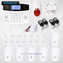 HOMSECUR Wireless & Wired GSM SMS Home Security Alarm System( Support ES / DE / FR / EN / RU voice) +6 Pet Friendly PIR(China)
