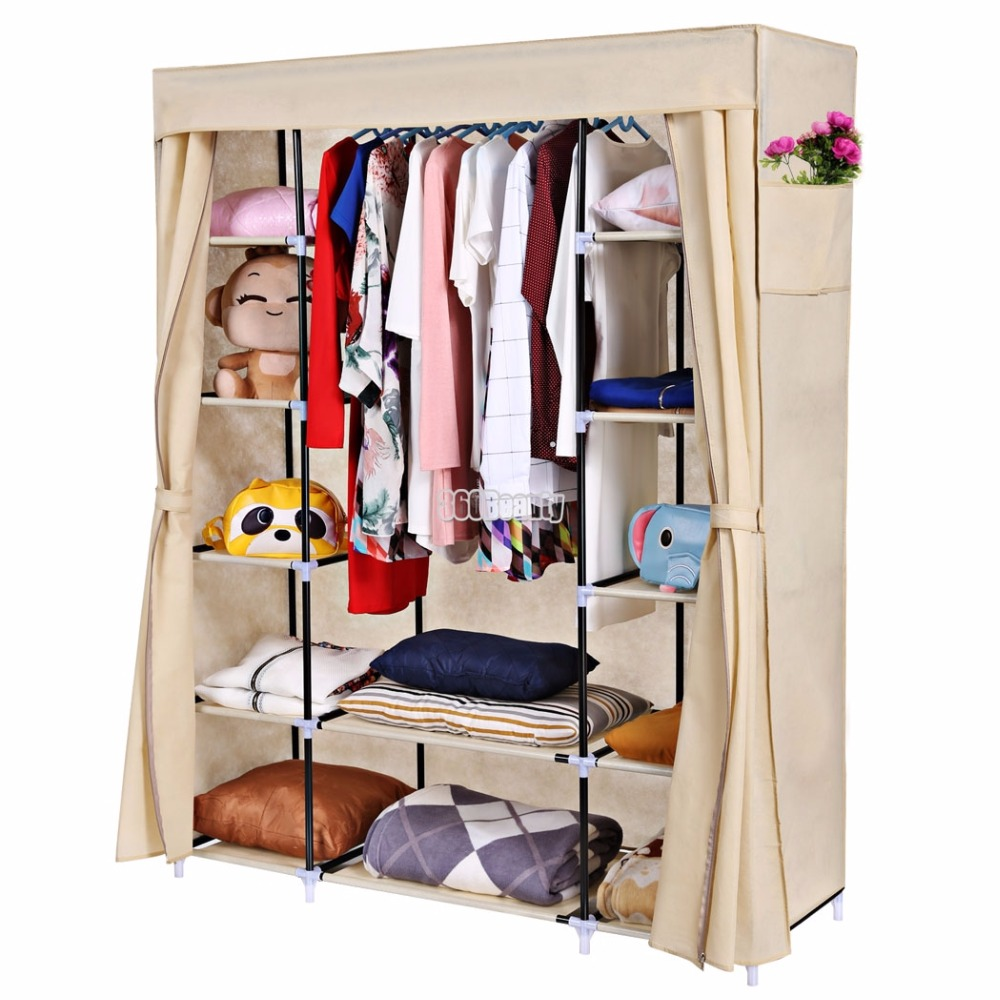 Homdox Portable Closet Storage Organizer Clothes Wardrobe Shoe Rack Shelves + Cover Side Pocket N20*<br>