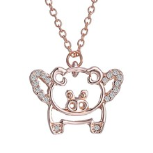 Fashion Lovely rose gold crystal animal pig Necklace & Pendant Animal Pendants For Women For Gift New(China)