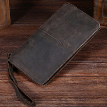 High Quality Men Clutch Bag Wallet Crazy Horse Cowhide Pocket Male Cell Phone Case Pack Retro Genuine Leather Coin Purse