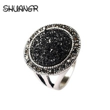SHUANGR Vintage Jewelry Fashion Show Elegant Round Black Broken Crystal Jewelry Womens Girls Silver Color Wedding Ring