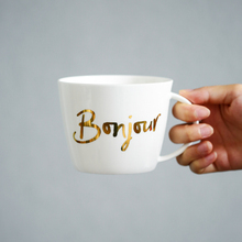 New bonjour coffee mug colden letter tea cup ceramic bone china large capacity(China)