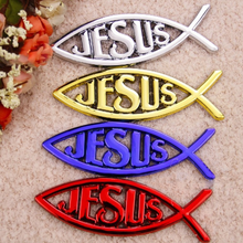 JESUS Fish Car Styling Sticker Car Boot Emblem Badges Red Gold Chrome Blue Shiping free(China)