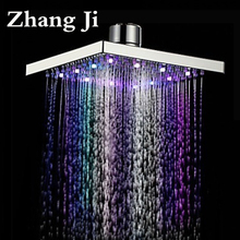 8 inch stainless steel LED light rainfall shower head Bathroom square water temperature Ceiling mounted led nozzle shower ZJ048(China)