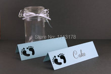 Baby Shower Place Names light blue boy Baby Shower Party table name card Baby Shower Ideas, Favor Gift Tags, Place Cards(China)
