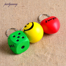 PF Dice PU Foaming Keychain Smiling Face Dolls Keyring Pendant for Key Accessories for Bags Purse Trinket Holder Jewelry YS071