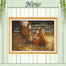 Глубокая любовь матери и сына животное лошадь 11ct Счетный напечатаны на холсте DMC 14ct DIY вышивки крестом Рукоделие Наборы вышивка комплект(China)