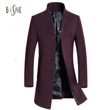 2017 Winter Wool Coat Slim Fit Jackets Fashion Outerwear Single Breasted Warm Man Casual Overcoat Pea Coat Plus Size M L XL 2XL