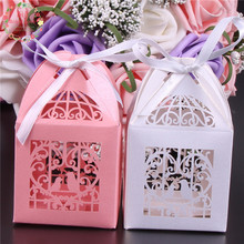 10pcs/lot Laser Cut Birdcage Design Candy Box Wedding Favors and Gift Chooclate Box Wedding Favor Box with Ribbon Party Supply(China)