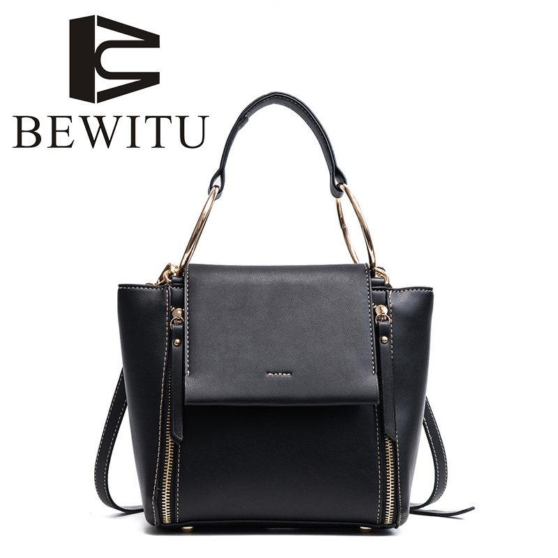 BEWITU 2018 New Handbag Female Wings Package Ring Double Zipper Bag Wild Fashion Messenger Bag Trendy on Work Shoulder Bag<br>