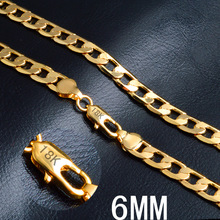Gold chain necklace hot necklace fashion jewelry 18 K 6MM 20 inch men/woman chain geometric pattern snake chain