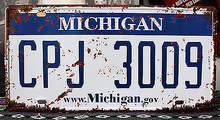"RZ1530-187 vintage metal painting""MICHIGAN CPJ3009""license plate fashion retro coffee bar decorative wall poster 15x30CM(China)"
