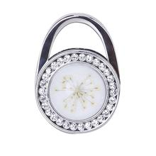 Round Bag Shaped Pressed Flower Rhinestone Folding Handbag Hanger Hook - White Free Shipping