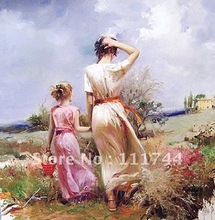 oil painting mother and child modern Landscape painting Tuscan Stroll by Pino Daeni High quality 100%hand painted