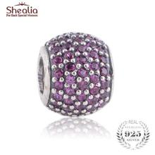 SHEALIA Red Pave Lights Charms 925 Sterling Silver High Quality Zirconia Pave Ball Beads For European Style Brand Logo Bracelets