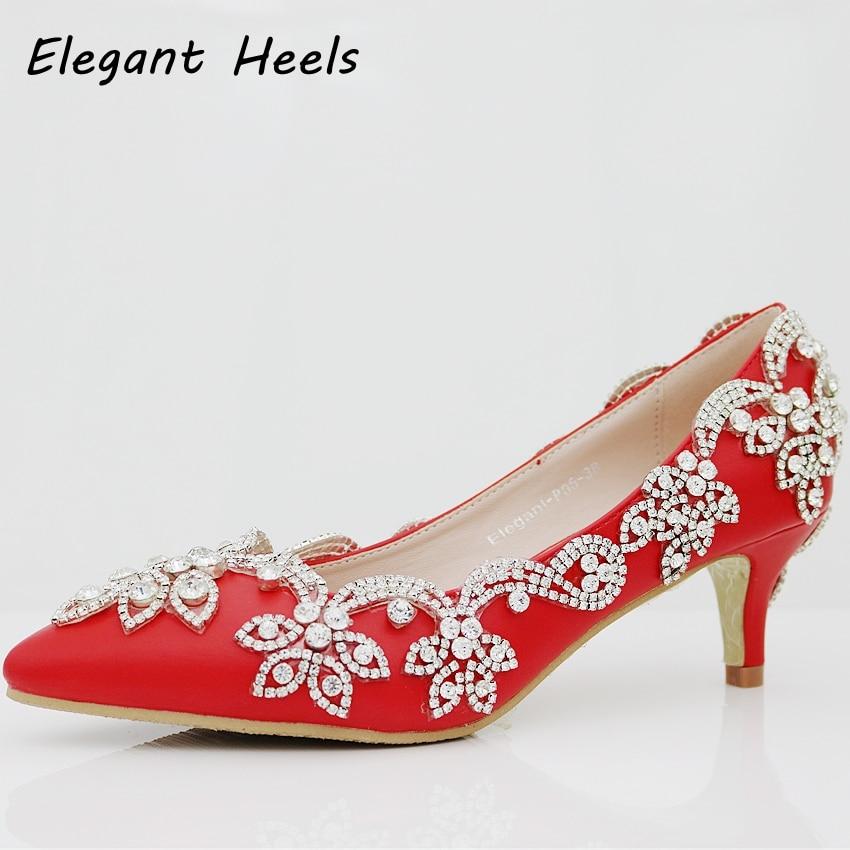 5cm heel shoes fashion elegant heels red matte pu rhinestone crystal wedding pumps high heels princess pointed toe heels 2017<br><br>Aliexpress