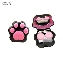 XZJJA Animal Dog/Cat Claws Contact Lenses Storage Box Cute Contact lens Case Box Eyes Care Kit Holder Washer Cleaner Container(China)