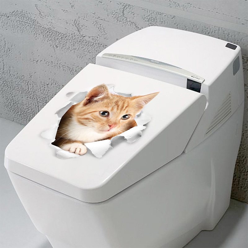 Cartoon animal 3d toilet stickers on the toilet seat cute cats PVC wall sticker bathroom refrigerator door decor stickers decals (42)