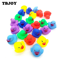 12pcs/lot Baby Bath Duck Toys Action Figure Rubber Float Squeaky Sound Duck Water Swimming Toys Baby Kids Toy Gifts ForChidren