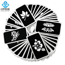 OPHIR 50 PCS Airbrush Stencils (5 series) for Body Painting Glitter Temporary Tattoo Tattoo Henna Template Sheets _TA032(A-E)(China)