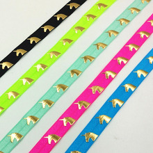 Q&N ribbon wholesale/OEM 5/8inch 16mm gold foil unicorn printed folded over elastic FOE 50yds/roll for hair tie(China)