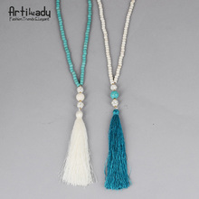 Artilady beads turquoise necklace vintage indian jewelry long chain tassel necklace for women wedding jewelry