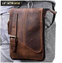 Real Leather men Casual Design Multifunction Small Messenger Crossbody Bag One Shoulder Bag Fashion Waist Belt Pack Pouch 611-1(China)