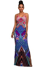 2017 Women Party Dress Robe Longue Bright Geometric Pattern Boho Style Maxi Dress with Slit Halter Summer Maxi Gown Dresses