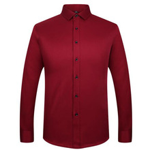 2018 Hot Sale Bridegroom Men Fashion Cotton Shirts,Long Sleeve Pure Color Slim Fit Masculina Tuxedo Shirts Plus Size S-2XL(China)
