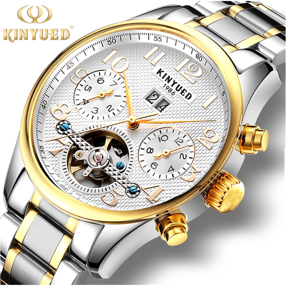 2017 Kinyued Skeleton Tourbillon Mechanical Watch Automatic Men Stainless steel strap Mechanical Wrist Watches Reloj Hombre<br>