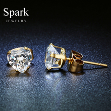 Famous Brand 3-8 mm Stud Earring Stainless Steel Big CZ Stone Gold Color Lovely Earrings for Female Gift Bijoux(China)