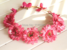 18CM Handmade wreaths with artificial PE gerbera daisy flowers,christmas wreath for hair accessories,diy girl bridal head wreath(China)