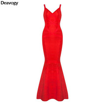 Deavogy 2016 New Red V Neck Sleevesless Strap Mermaid Elegant Chic Stretch Women Night Club Long  Summer Dress H1098 Hot Sale