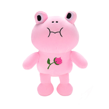 Lazada Plush Rose Frog Dolls Stuffed Simulation Animal Cute Toys with Sucker for Soft Baby Kids Birthdays Gifts 10''(China)