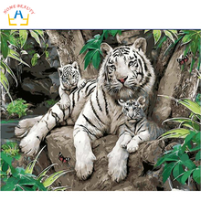 Diy digital oil painting by number paint drawing coloring by number canvas hand painted picture wall decor animals tiger E397