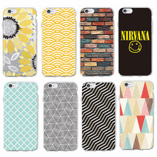 For iPhone 7 7Plus 6 6S 6Plus 5 5S 8 8Plus X SAMSUNG Sunflower Nirvana Triangle Brick Wall Geometric Pattern Phone Case Coque