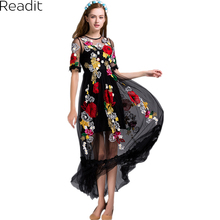 Black Sexy Dress Embroidery Flowers Mesh Summer Early Spring Short Sleeve Translucent 2017 Fashion Daily Women Long Dress D1899