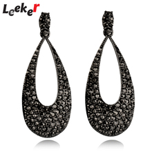 LEEKER Women Vintage Jewelry Long Tear Drop All Black Earrings With Cubic Zircon For Female 91121 LK1(China)