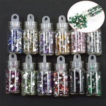 12pcs/sets Retail Crystal 12 Colors Crystal Rhinestones Nail Art Tips Sticker Glitter Sparkly Shinning Gem Bottle Sets NC318